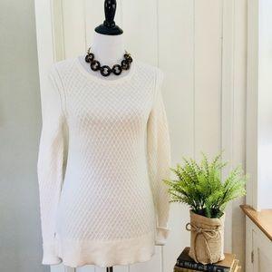 LOFT Ivory Cotton Textured Pullover Tunic Sweater